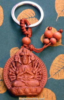 Keychain Buddha / Guan Yin carved wood