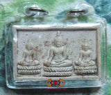 Thai Amulet with 3 Buddha - Wat Yai Pohak.
