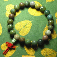 Wrist Tibetan Mala in green and red agate.