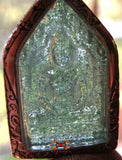 Phra Khunpen charm amulet in alchemical glass.