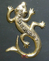 Golden brass Thai Gecko amulets.