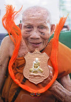 Precious medal portrait Roop Lor with six tigers - Most Venerable LP Saur.