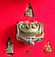 Powerful pearl protector Look Sakot 10.000 Yant + 3 micro amulets of Venerable LP Deng.