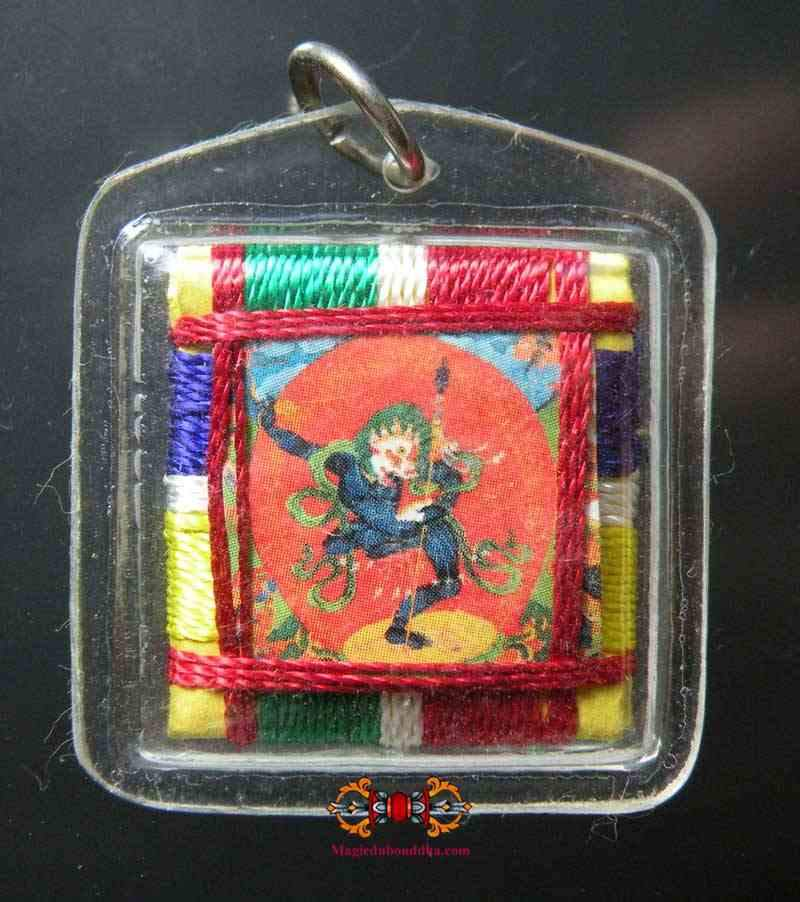 Tibetan Amulet Yantra of Simhamukha - Dakini with the face of a lion.