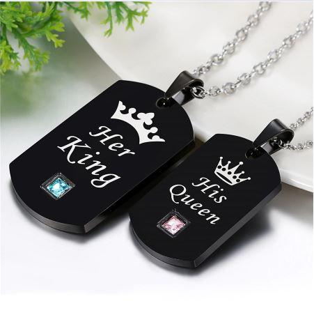 Her King & His Queen Crown Necklace Military Army Cards Necklace