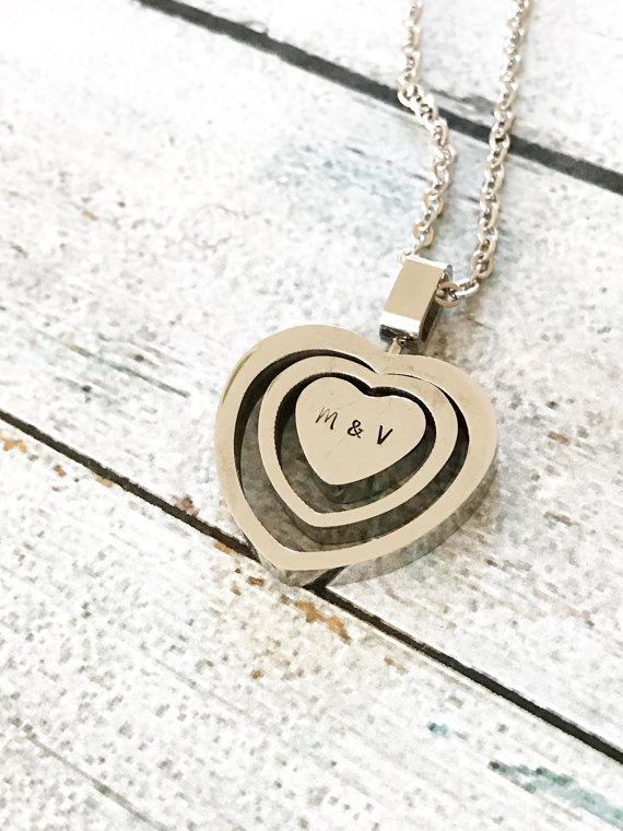 Heart necklace - Stainless steel necklace - Open