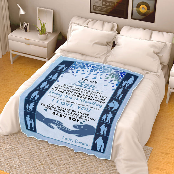 """You Will Always Be My Baby Boy"" Customized Blanket For Son"
