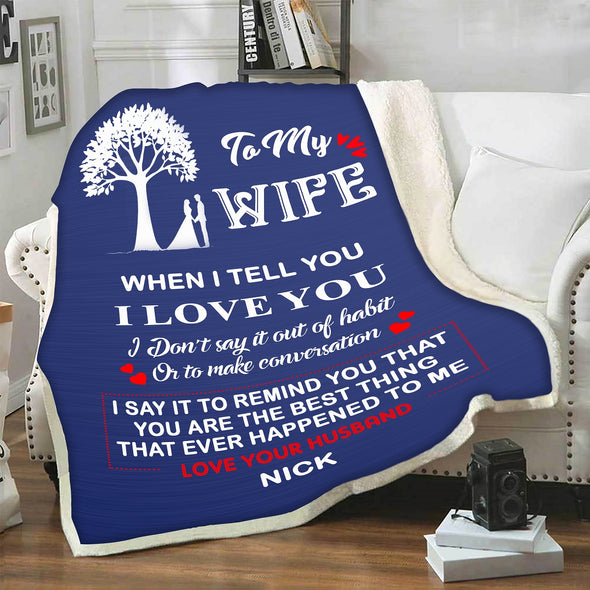 "Cozy Personalized ""To My Lovely  Wife "" Premium Customized Blanket"