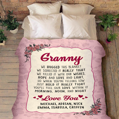 """Love You"" Grandma Customized Blanket For Grandma/Grandpa/Mamma/Papa/Auntie"