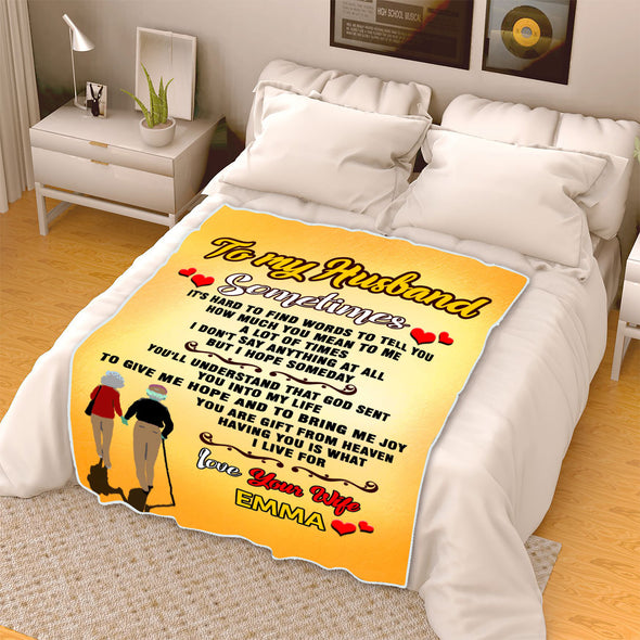 """You Are Gift From Heaven"" Personalized Blanket For Husband"
