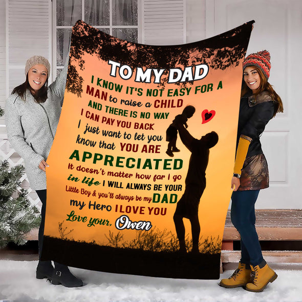 """To My Dad My Hero I Love You ""- Personalized Blanket"