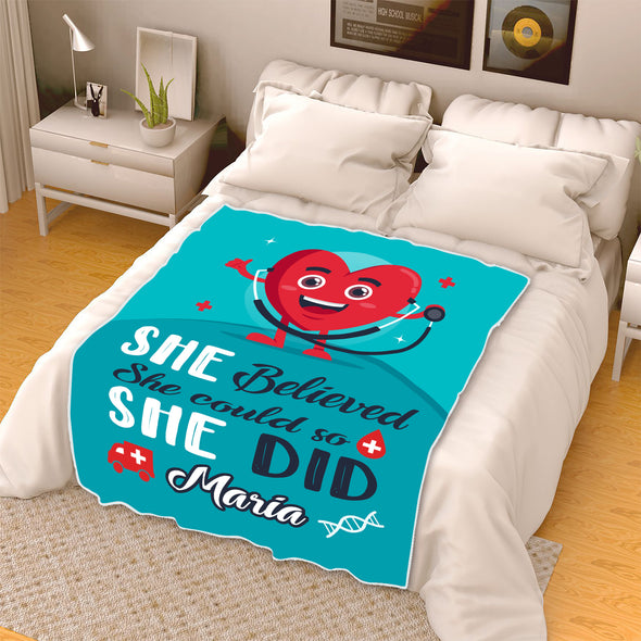 """She Believed She Could So She Did"" Customized Blanket For Nurse"