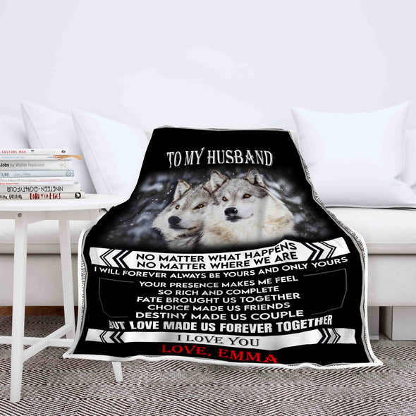 """Destiny Made Us Couple"" Customized Blanket For Husband"