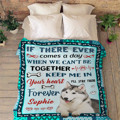 """Keep Me In Your Heart"" Personalized Blanket For Dog"