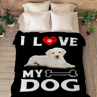 """I Love My Dog"" Customized Fleece Blanket"