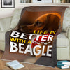 """Life Is Better With A Beagle"" Fleece Blanket"