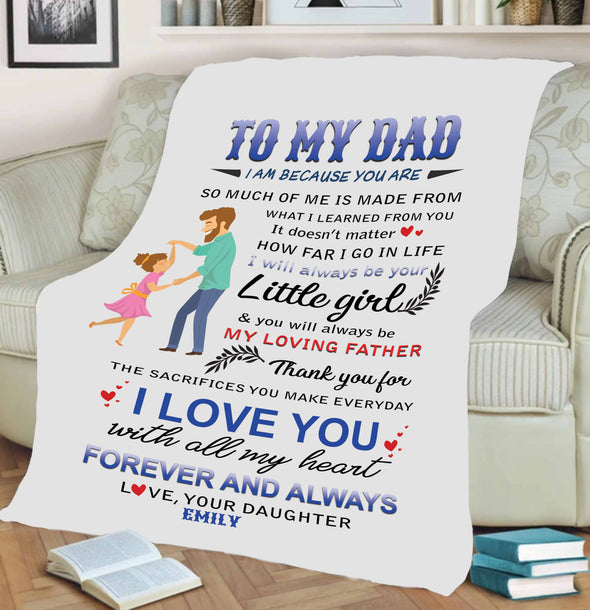 """I Love You With All My Heart"" Customized Blanket For Dad"