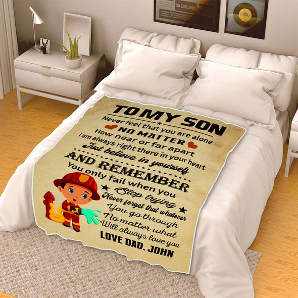 """I Am Always Right There In Your Heart"" Customized Blanket For Son"