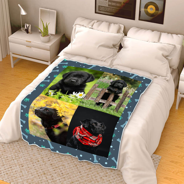 Pet Photo Collage Fleece Blanket