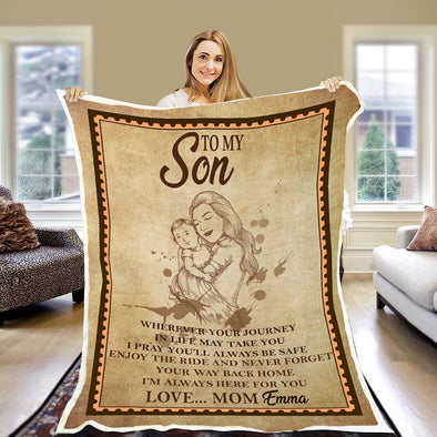 """I'm Always Here For You"" Customized Blanket For Son"