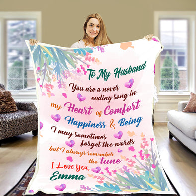 """My Heart Of Comfort"" Customized Blanket For Husband"