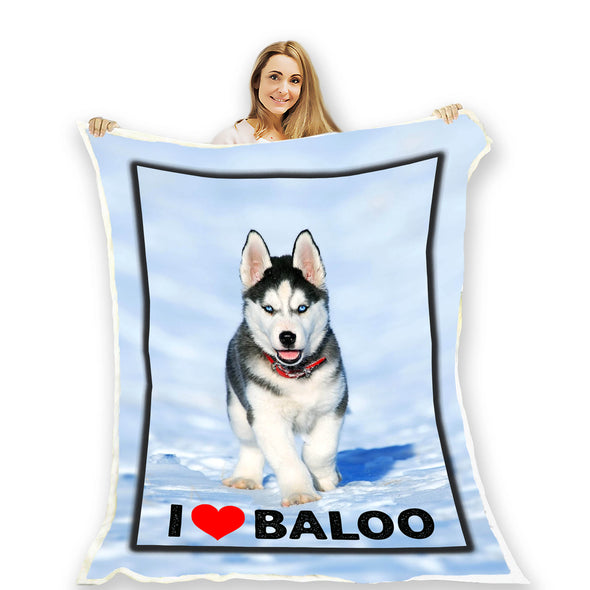 Customized Picture Fleece Blanket For Pet With Name