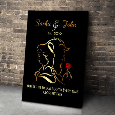 Personalized Beauty and Beast Wall Canvas