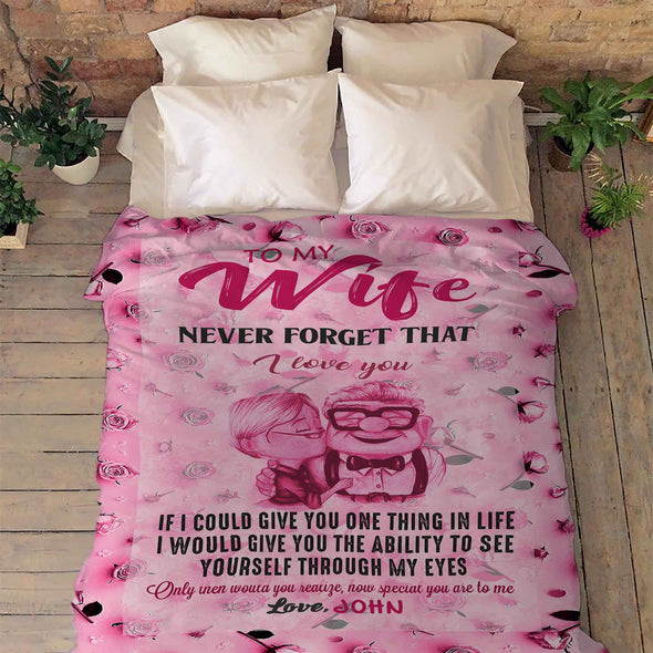 To My Wife Pink Customized Blanket With Your Name