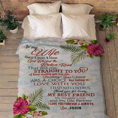 """To My Wife Floral Print"" Customized Blanket"