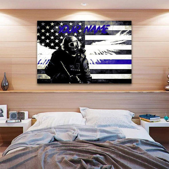 Custom Personalized Thin Blue Line Canvas