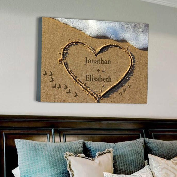 Beach Heart Personalized Wall Canvas