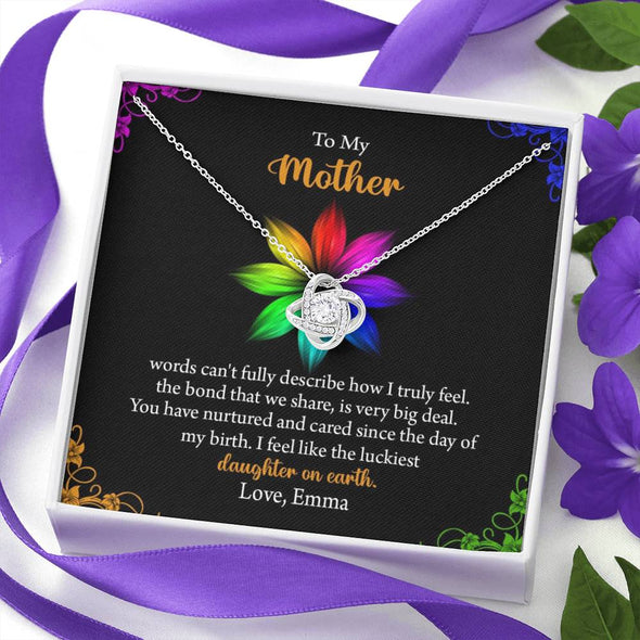 To My Mother Customized Knot Pendant, Pendant For Mother With Message Card, Gift Ideas For Mommy/Daughter, Jewelry For Her