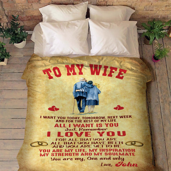 """TO MY WIFE PERSONALIZED"" PREMIUM BLANKET"