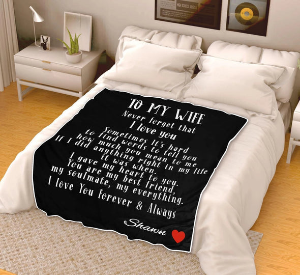 To My Wife Personalized Blanket