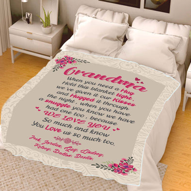 """We Love You"" Grandma Customized Blanket For Grandma/Grandpa/Mamma/Papa/Auntie"