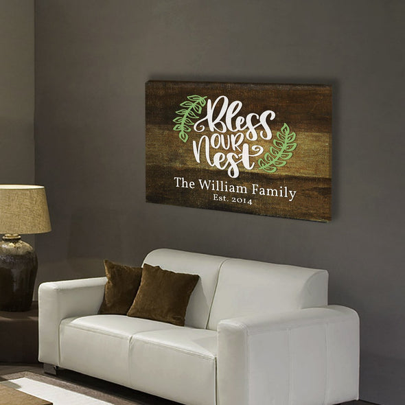 """Our Nest"" Family Personalized Canvas Wallart"