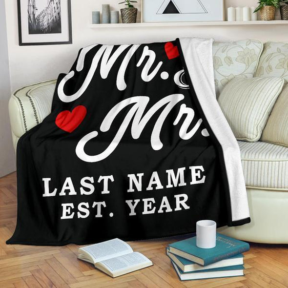 Mr & Mr Personalized LGBT Blanket With Name And Wedding Year