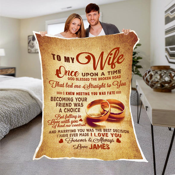 """TO MY WIFE "" PERSONALIZED PREMIUM BLANKET"