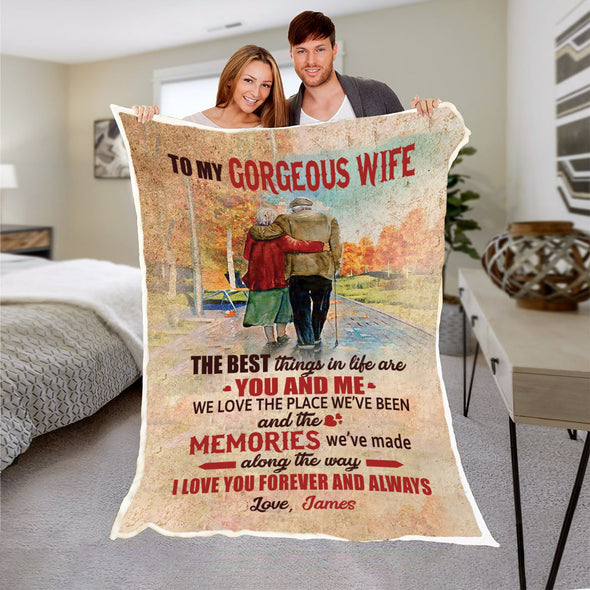 """TO MY GORGEOUS WIFE "" PERSONALIZED PREMIUM BLANKET"