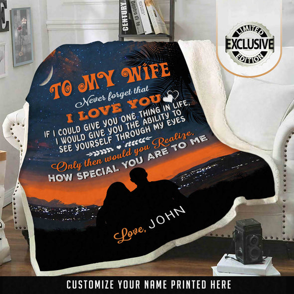 "Lovely Personalized Blanket""To My Wife"""