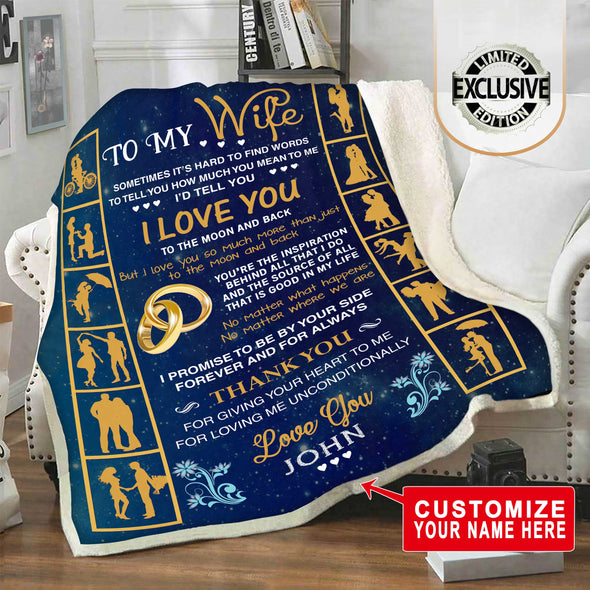 Premium Personalized Blanket for Wife