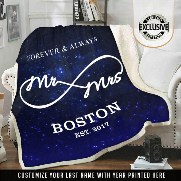 MR & MRS. PERSONALIZED GALAXY BLANKET WITH NAME AND WEDDING YEAR
