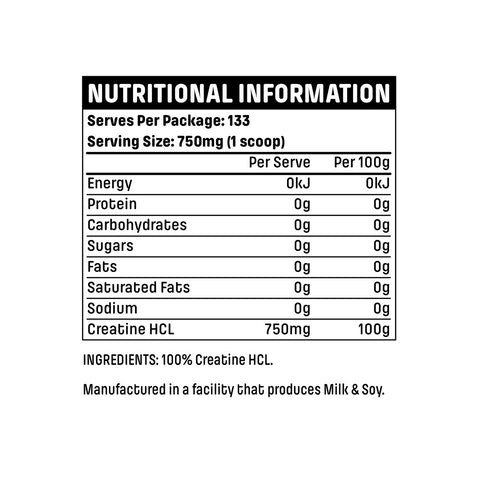 Emrald Labs Creatine HCL Nutritional Panel