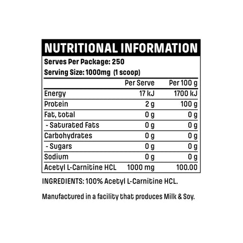 Emrald Labs Acetyl L-Carnitine Nutritional Panel