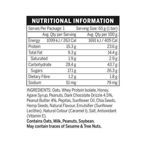 Emrald Labs Whole Food Bar Nutritional Panel