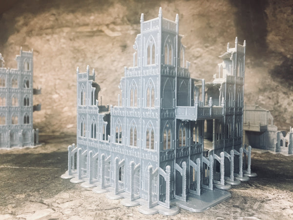 4 Level Large Gothic Building Ruins - 8mm Scale