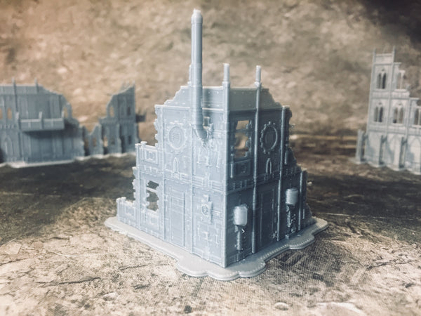 2 Level Gothic Factory Ruins - 8mm Scale