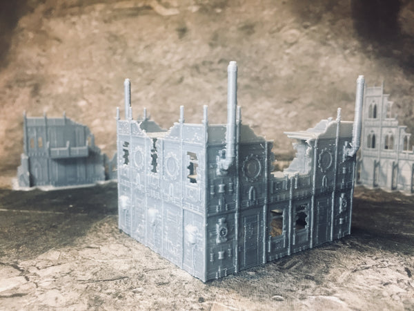 2 Level Large Gothic Factory Ruins - 8mm Scale
