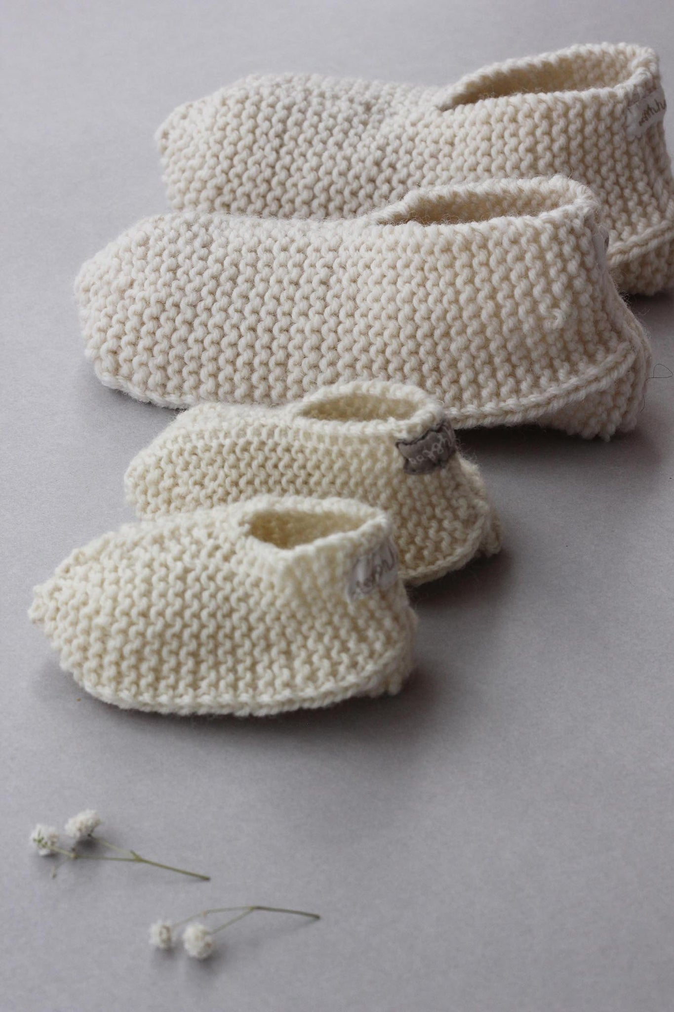 Vintage Mommy Baby Pure Merino Wool Booties - New Mommy & Baby Care Bundle - Set of 2 Booties