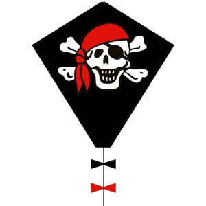 Skull and Cross Bones Kite, featuring black and red bows
